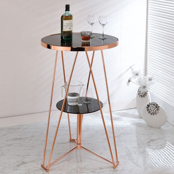 My Decor Center - Jarvis Bar Table (Black Glass & Rose Gold)