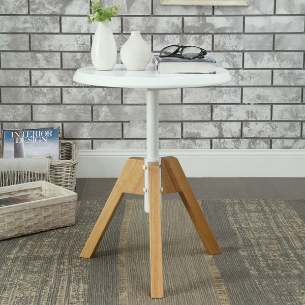 My Decor Center - Lumina End Table (White & Natural)