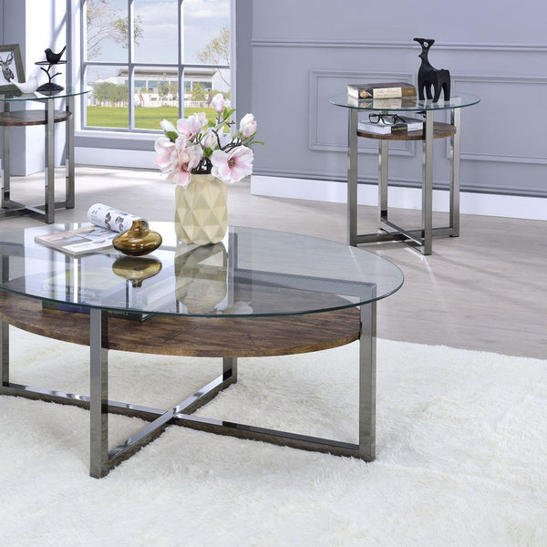 My Decor Center - Janette End Table Table (Weathered Oak & Black Nickle)