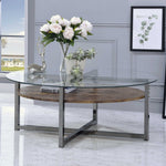 My Decor Center - Janette Coffee Table (Weathered Oak & Black Nickle)