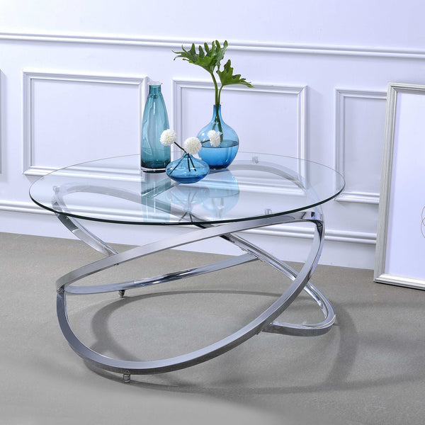 My Decor Center - Marlon Coffee Table (Chrome & Clear Glass)