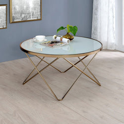 My Decor Center - Valora Coffee Table (Frosted Glass & Champagne)