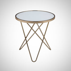 My Decor Center - Valora End Table (Frosted Glass & Champagne)