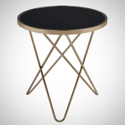 My Decor Center - Valora End Table (Black Glass & Champagne)