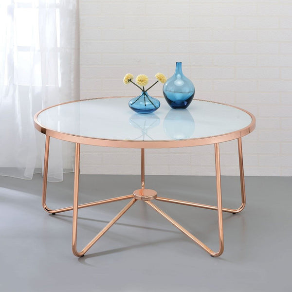 My Decor Center - Alivia Coffee Table (Frosted Glass & Rose Gold)