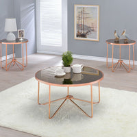 My Decor Center - Alivia End Table (Rose Gold & Smoky Glass)