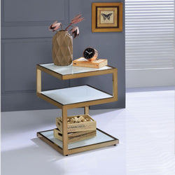 My Decor Center - Free Shipping - Acme Furniture, Alyea - End Table (Champagne & Frosted Glass)