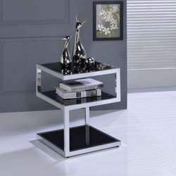My Decor Center - Free Shipping - Acme Furniture, Alyea - End Table (Chrome & Black Glass)