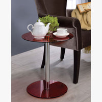 My Decor Center - Halley End Table (Chrome & Red Glass)