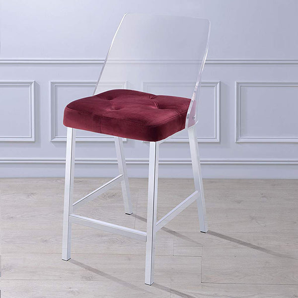 My Decor Center - Nadie II Counter Height Chair (Burgundy Velvet & Chrome)