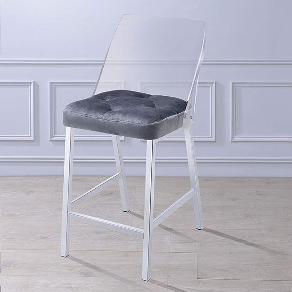 My Decor Center - Nadie II Counter Height Chair (Gray Velvet & Chrome)