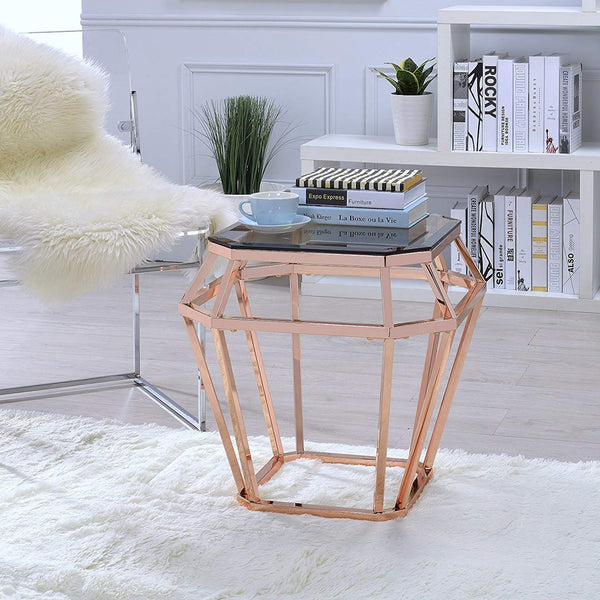 My Decor Center - Clifton End Table (Rose Gold & Smoky Glass)