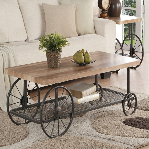 My Decor Center - Francie Coffee Table (Oak & Industrial Antique Gray)