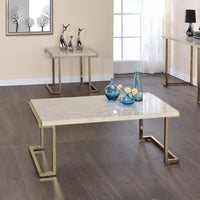 My Decor Center - Boice II Coffee Table (Faux Marble & Champagne)
