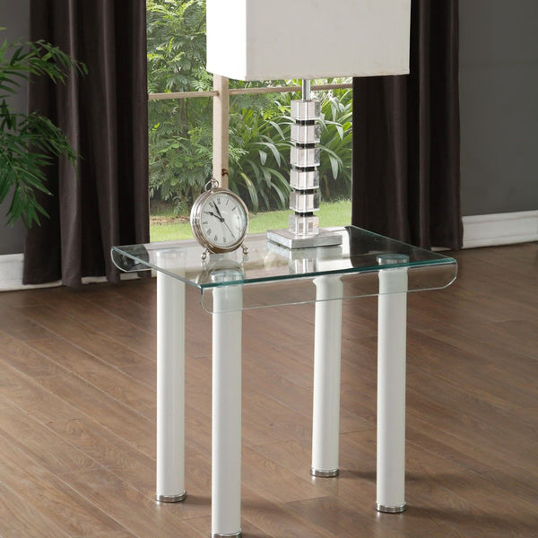 My Decor Center - Gordie End Table Table Rectangular (White & Clear Glass)