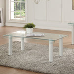 My Decor Center - Gordie Coffee Table Rectangular (White & Clear Glass)