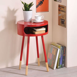 My Decor Center - Sonria End Table (Red & Natural)