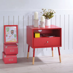 My Decor Center - Sonria II End Table (Red & Natural)