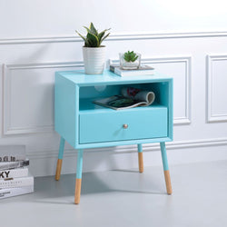 My Decor Center - Sonria II End Table (Light Blue & Natural)