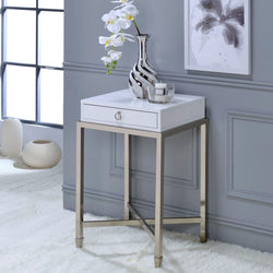My Decor Center - Free Shipping - Acme Furniture, Belinut - End Table (White & Brushed Nickel)