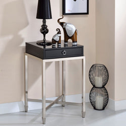 My Decor Center - Free Shipping - Acme Furniture, Belinut - End Table (Black & Brushed Nickel)