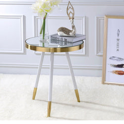 My Decor Center - Mazon End Table & Mirror,Antique (Brass & White)
