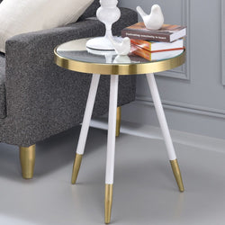 My Decor Center - Mazon End Table Smoky Mirror Antique (Brass & White)