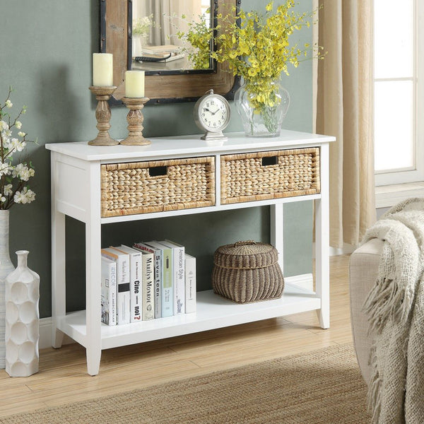 My Decor Center - Flavius Console Table 2 Drawer (White)