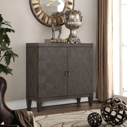My Decor Center - Free Shipping - Acme Furniture, Cherie - Console Table (Antique Black & Gold Nail-head)