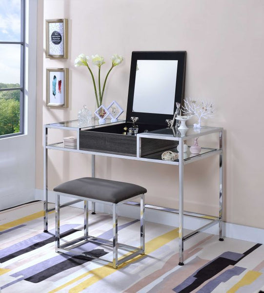 My Decor Center - Carenze Vanity Set (Gray Oak & Chrome)