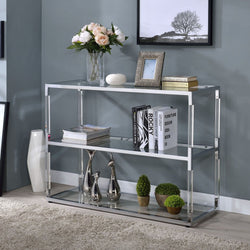 My Decor Center - Raegan TV Stand Clear Acrylic (Chrome & Clear Glass)