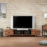 My Decor Center - Sara I TV Stand (Walnut & Smoky Glass)
