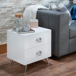 My Decor Center - Free Ground Shipping - Acme Furniture, Nightstand, Elms - Nightstand (White & Chrome)