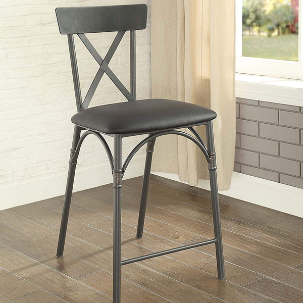 My Decor Center - Itzel Counter Height Chair (Black PU & Sandy Gray)