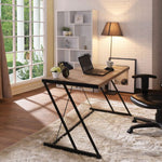 My Decor Center - Finis Office Desk w/ USB Power Dock (Weathered Light Oak & Black)