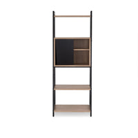 My Decor Center - Finis Leaning Bookshelf (Light Oak & Black)
