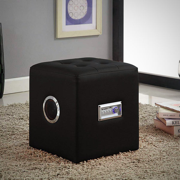 My Decor Center - Laila Sound Lounge Ottoman With Bluetooth Speaker (Black PU)