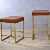 My Decor Center - Boice Counter Height Stool (Light Brown PU & Gold)