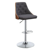 My Decor Center - Camila D Swivel Adjustable Stool (Linen & Walnut)