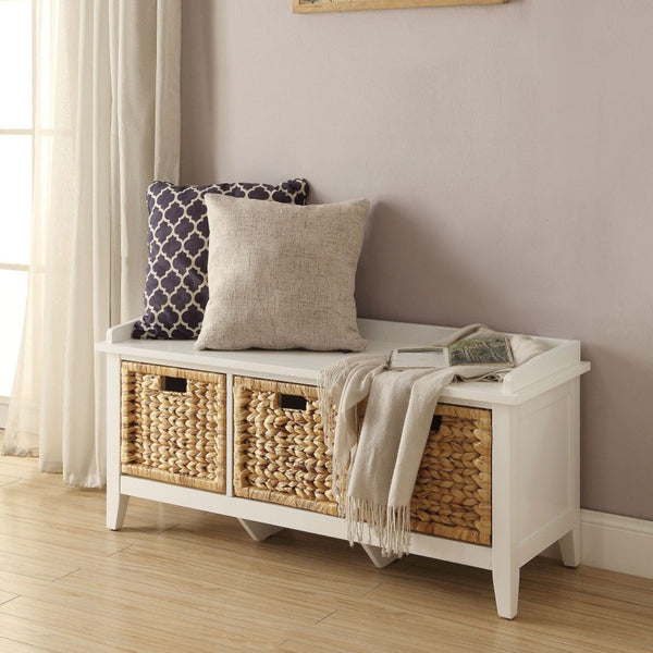 My Decor Center - Flavius Bench With Storage (White)