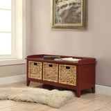 My Decor Center - Flavius Bench With Storage (Burgundy)