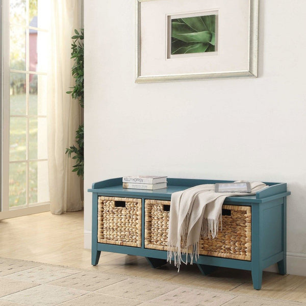 My Decor Center - Flavius Bench With Storage (Teal)