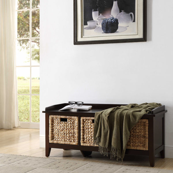 My Decor Center - Flavius Bench With Storage (Espresso)