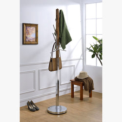 My Decor Center - Free Shipping - Acme Furniture, Belen II - Coat Rack (Walnut & Chrome)