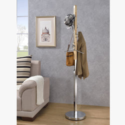 My Decor Center - Free Shipping - Acme Furniture, Belen II - Coat Rack (Natural & Chrome)