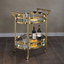 My Decor Center - Lakelyn Serving Cart (Brushed Bronze & Clear Glass)
