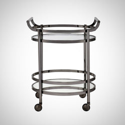My Decor Center - Lakelyn Serving Cart (Black Nickel & Clear Glass)