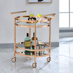 My Decor Center - Lakelyn Serving Cart (Rose Gold & Clear Glass)