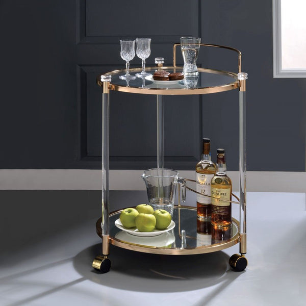 My Decor Center - Todd Serving Cart (Gold & Clear Glass)