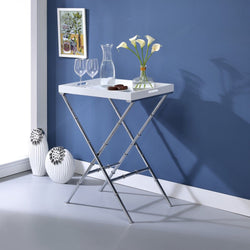My Decor Center - Lajos Tray Table (White & Chrome)